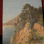 EUGENE H. FREY (1864-1930) fine plein air exhibited Monaco coast painting