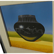 MICHAEL MORROW (1950-2007) fine gouache painting of Southwestern pottery in a landscape by lis