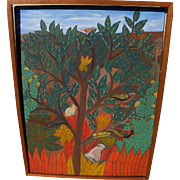 Haitian art colorful naive painting of the Tree of Life signed M. Henry
