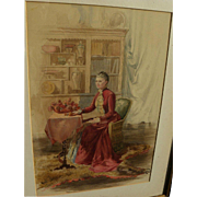 American late 19th century fine unsigned watercolor of a lady in her parlor
