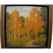 WILLARD PAGE (1885-1958) Southwestern art miniature landscape painting of flaming aspen in the
