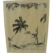 PHILIP KAPPEL (1901-1981) pencil signed etching print of Caribbean scene by noted Connecticut