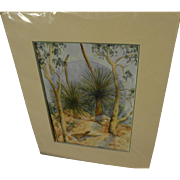 Signed contemporary watercolor painting of arid landscape with lizard and eucalyptus likely Au
