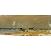 American pastel drawing of wreck on a coastline possibly by Alfred Thompson Bricher (1837-1908