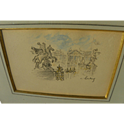 ANDRE HAMBOURG (1909-1999) fine pencil and watercolor drawing of Paris by the noted French Pos