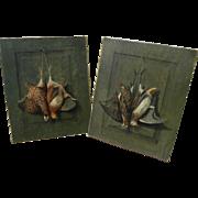 HENRY H. CROSS (1837-1918) American sporting art **pair** of still life trompe l'oeil painting
