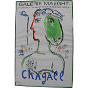 """After MARC CHAGALL (1887-1985) original Galerie Maeght lithograph poster circa 1972 """"Woma"""