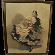 Vintage Spanish art flamenca dancer painting signed
