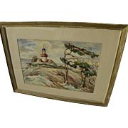 ANNA WILSON (20th century California) watercolor painting of historic Point Pinos Lighthouse,