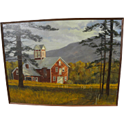 New England circa 1970's impressionist landscape with red barn signed Winters