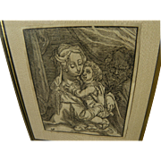 CHRISTOFFEL VAN SICHEM (1546-1624) Old Master woodblock print of Madonna and Child after ...