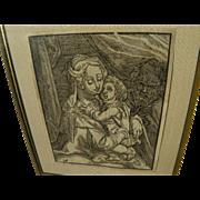 CHRISTOFFEL VAN SICHEM (1546-1624) woodblock print of Madonna and Child after Albrecht Durer