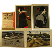 KIYOSHI SAITO (1907-1997) Japanese woodblock art set of FOUR signed fine prints from series