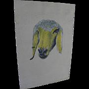 MENASHE KADISHMAN (1932-2015) Israeli art hand signed lithograph print of sheep head by major