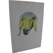 MENASHE KADISHMAN (1932-2015) Israeli art hand signed lithograph print of sheep head by major