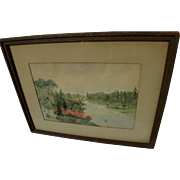 Vintage South Carolina watercolor landscape painting by historian and author Edgar Mayhew Baco