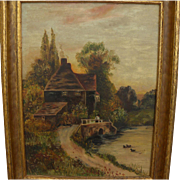 English 1915 signed painting of cottage by a duck pond