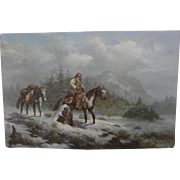 TROY DENTON American western art painting of early Mountain Man on horseback in the snowy ...