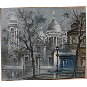 MAURICE LEGENDRE (1928-) French art impressionist painting of Paris in winter