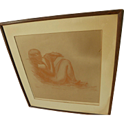 After JEAN-FRANCIS AUBURTIN (1866-1930) engraving by GEORGES AUBERT (1886-1961) of a young ...