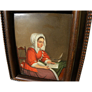 Late 18th or early 19th century painting on porcelain after Dutch Old Master artist Gabriel Me