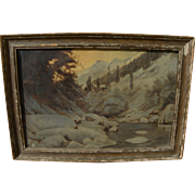 Oil mountain landscape painting dated 1921 signed F. Sima