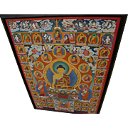 Contemporary Tibetan thangka original painting featuring central figure Buddha surrounded by s