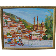 Colorful detailed contemporary naive style Mexican painting of church at Taxco and surrounding