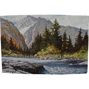 Signed impressionist landscape painting of high western mountains