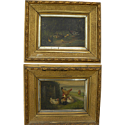 PAIR of European 19th century paintings of chickens and ducks signed L MULLER