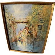 Watercolor painting of Venice canal signed and dated 1917