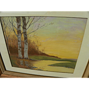 Vintage pastel drawing of winter birches by a creek at sunset signed and dated 1946