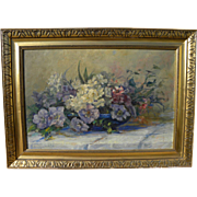 JOSEPHINE M. SMITH vintage impressionist still life painting flowers in a vase