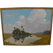Florida art vintage Everglades oil painting signed by professional artist EDWARD ARTHUR EVANS