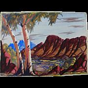 EWALD NAMATJIRA (1930-1984) Australian aboriginal art watercolor painting of Central Australia