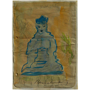 LUDWIG BEMELMANS (1898-1962) original color drawing of Buddha by the famous illustrator artist