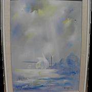 HERMANN DIETRICH (1916-2003) original mid century oil painting of Golden Gate in San Francisco