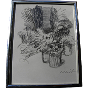 ROGER MUHL (1929-2008) charcoal drawing of planters in patio setting by noted French contempor