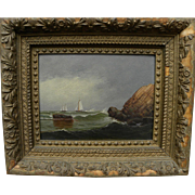 D. A. FISHER (1867-1940) oil on board painting sailing off the Maine coast