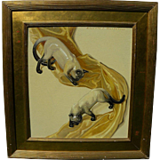 KENNETH STEVEN MACINTIRE (1891-1979) elegant highly decorative Art Deco inspired oil painting