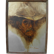 RAMON KELLEY (1939-) Southwestern American art 1970 painting of man in cowboy hat by well ...