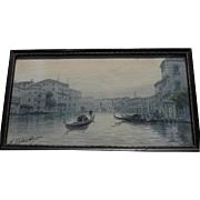 Venice Italy circa 1900 signed watercolor painting of canal and gondola