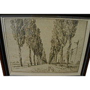 """JOSEPH PENNELL (1860-1926) fine etching """"The Avenue, Valenciennes"""" by important Amer"""