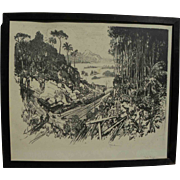 """JOSEPH PENNELL (1860-1926) large scarce 1912 lithograph """"The Jungle"""" by important Am"""