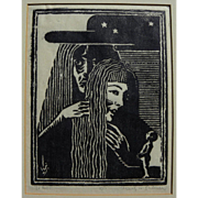 IGNATZ SAHULA-DYCKE (1900-1982) woodblock signed 1931 print by Czech-born artist and ...