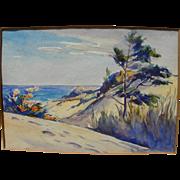 LESTER JOSEPH CHANEY (1907-1998) watercolor painting of Indiana coastal dunes on Lake Michigan