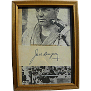 Boxer JACK DEMPSEY (1895-1983) original autograph signature framed with images of the fighter