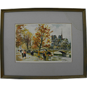 CHARLES BLONDIN (1913-) pencil signed limited edition Paris print of scene along the Seine ...