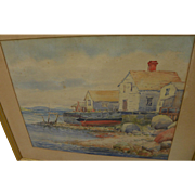 SIDNEY T. CALLOWHILL (1867-1939) watercolor painting of New England coastal shacks by Arts and