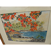 Hawaiiana mid century watercolor painting of a coastal patio with palms and poinciana